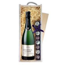 Buy & Send Castell Lord Cava with Truffles in Wooden Box - Sparkling Wine Gifts